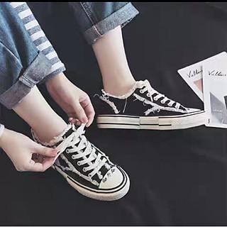 Giày thể thao vải CV cổ ngắn, kiểu rạch tua rua thơi trang CV145