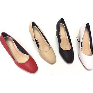 Giày mõm vuông 5cm màu đỏ