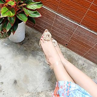 (Có Sẵn)Giày cao gót trong suốt đính đá hoa mai vàng cao 7p - mai đá 7p