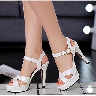 Giày cao gót dự tiệc 10cm quai chéo màu trắng sang trọng