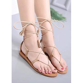 Sandal buộc dây tua rua sợi nhỏ vintage đi biển - D80