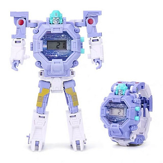 Đồng hồ biến hình robot siêu nhân cho bé gái 5552 màu tím
