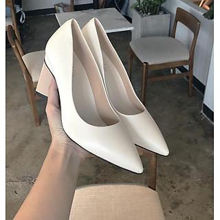 Giày búp bê mũi nhọn 7 phân gót tam giác hàng công ty đẹp chất S045