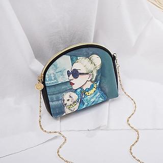 Túi đeo chéo in hình cá tính Bomesa TX23