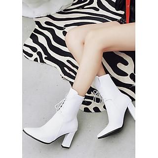 Boot ngang bắp chân màu trắng mũi nhọn THỜI THƯỢNG GBN4902