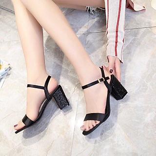 Giày Sandal Nữ Đẹp / Cao Gót Hở Mũi Da Mềm Đế Vuông 7 phân - 7cm Kim Tuyến Phong Cách Hàn Quốc CTS-CG