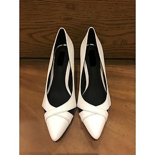 giày mũi nhọn gót cao 7cm thiết kế hai quai chéo