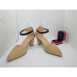 Giày cao gót nữ/ Sandal Cao Gót Nữ Da Nhung Mềm Mịn Màu Kem Phối Viền Đen Quai Cài Ngang Đế Vuông Cao 7 Cm,7 Phân Thời Trang Nữ Phong Cách Hàn Quốc -CGPN0095-YN127