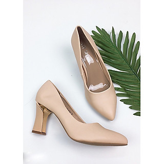 Giày cao gót 7cm da lì form chuẩn GXK040