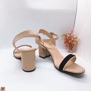 Sandal/ Giày Cao Gót Nữ Đẹp  Da Mềm Phối Nhung Hạt Ngọc Đế Vuông Cao Cấp Cao 6 Cm Phong Cách Hàn Quốc.