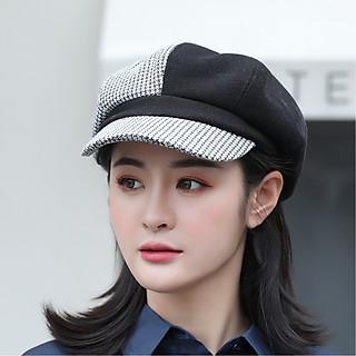 Mũ nón nồi, beret nữ phong cách HÀN QUỐC - phối sọc caro