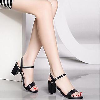 Giày Sandal Nữ Đẹp Da Lì Hở Mũi Quai Hậu Đế Vuông 7P Bản Ngang Công Sở CTS-PN852