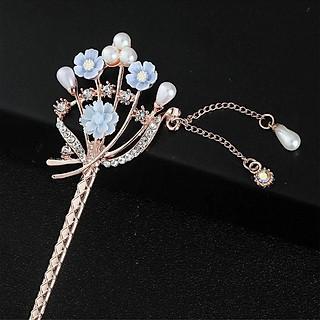 Trâm cài tóc nữ hoa sakura đính đá hạt rơi kiểu cổ trang