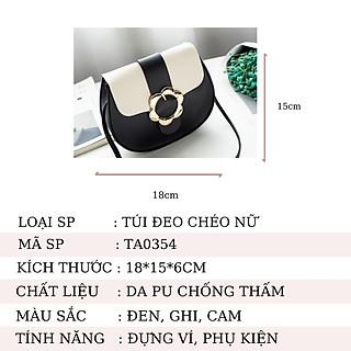 Túi đeo chéo nữ thời trang phối màu - Túi nữ mini khóa hoa cực cute  - Da PU chống thấm cao cấp - TA0354