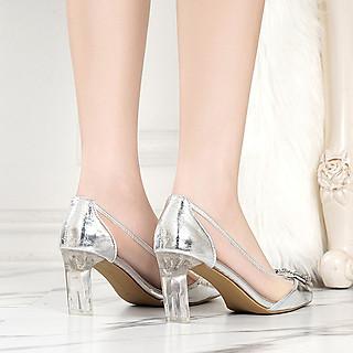 Giày Cao Gót Hoa Đá Trong Suốt Pha Lê Thời Trang Kèm Cặp Miếng Lót Mũi Chân (Màu Ngẫu Nhiên