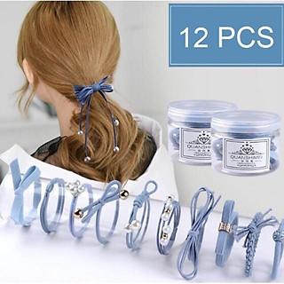 Hộp 12 dây cột tóc dễ thương- Bộ dây buộc tóc nhiều chi tiết
