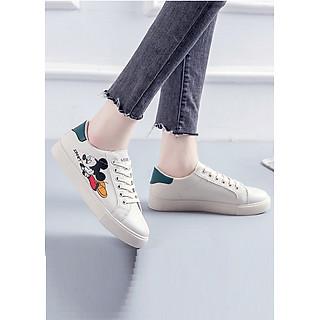 Giày sneaker da nữ in hình Mickey, chất liệu da PU bền chắc, thời trang trẻ, phong cách Hàn Quốc