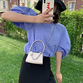 Túi đeo chéo nữ đi chơi cao cấp, túi xách mini hoa cúc phối xích cực xinh TX40
