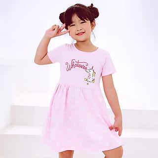 Đầm Bé Gái Ngắn Tay MEEJENA Váy Bé Gái 3-12 Tuổi , Vải 100% COTTON 4C - 1488