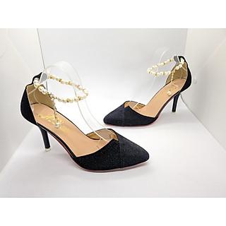 Giày Nữ, Giày cao gót nữ/ Sandal Cao Gót Nữ Màu Đen Ánh Kim Tuyến Nhũ Sang Trọng, Đẳng Cấp Quai Cài Ngang Chuỗi Vòng Ngọc Đế Nhọn Cao 9 Cm, 9 Phân Phong Cách Hàn Quốc CGPN001050-YN136 - 39