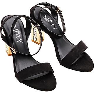 Giày Sandal Mozy Gót Vuông Da Lộn Quai Ngang MZSD029