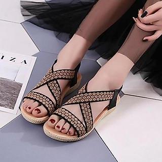 Giày sandal nữ quai chéo thêu hoa thổ cẩm - LN226