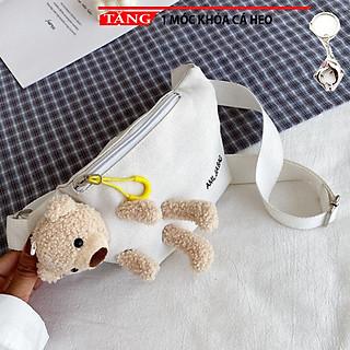 Túi đeo chéo Trẻ em người lớn Gấu giấu trong kiểu ngang mẫu ưa chuộng QR4  Tặng móc khóa cá heo