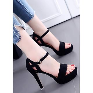 Sandal cao gót đế đúp quai ngang