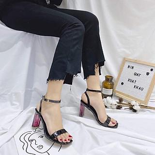 Giày Sandal Gót Tím Quai Ngang