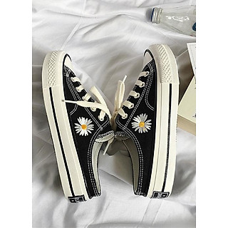 Giày sục nữ thêu hoa LAHstore, chất liệu vải canvas siêu bền đẹp, thịch hợp hè thu, thời trang trẻ, phong cách Hàn Quốc