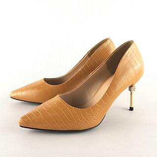 Giày Nữ Cao Gót Mũi Nhọn Đế Nhọn 7 cm Vân Giả Da Cá Sấu Gót Đính Đá Sang Trọng Độc Đáo Thời Trang Giày Dự Tiệc Công Sở G004 3 Lựa Chọn Màu Đen Màu Vàng Màu Trắng