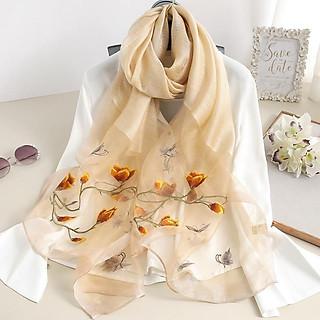 Khăn thêu hoa mộc lan vàng tơ (LTKT012)