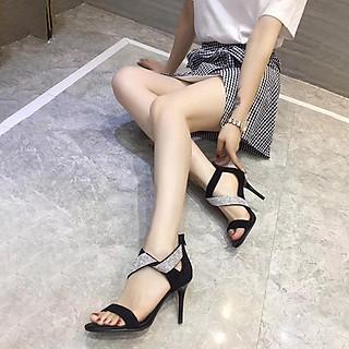 Giày cao gót nữ đẹp 7 phân sandal quai bản chéo hạt lấp lánh gót nhọn