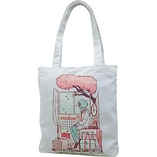 Túi tote vải canvas, túi vải tote nữ đeo vai, túi tote TROY TCV2-M1 in hình cô gái ngồi bên cửa sổ