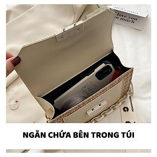 Túi Xách Nữ Đẹp (Túi Đeo Chéo) Chất Liệu Thông Phối Dây Đeo Hoa Cúc - Mã XT006