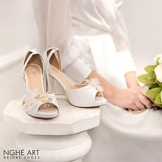 Giày cưới Nghé Art đính hoa voan 306