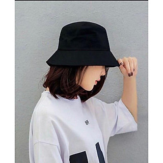 Mũ bucket trơn đen cá tính