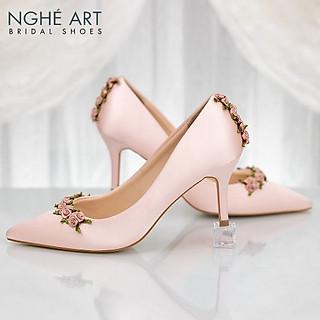 Giày cưới Nghé Art lụa satin hoa hồng 311