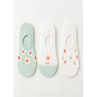 Set hộp 3 đôi tất nữ NICESOKS  chất liệu cotton cao cấp, dáng lười ngắn cổ thể thao, họa tiết hoa cỏ , hàng chính hãng
