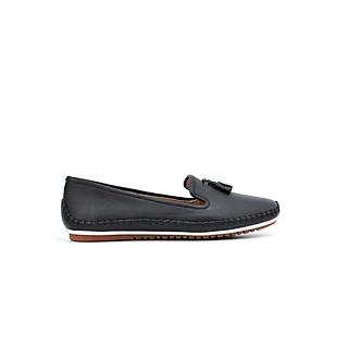 Giày lười nữ  - giày mọi nữ da thật mũi phối nơ dây thời trang cực xinh xắn PABNO PN701