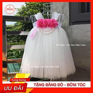 Váy công chúa cho bé ️️ Váy công chúa trắng hoa hồng màu hồng cho bé yêu
