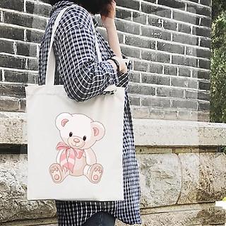 Túi Vải Đeo Vai Tote Bag In Hình Cute Teddy Bear