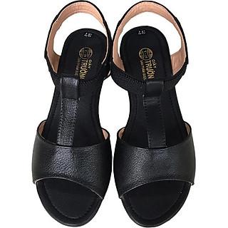 Giày sandal nữ Trường Hải da bò thật đế cao su không trơn dép cao 2.5cm dép thời trang cao cấp SDN074
