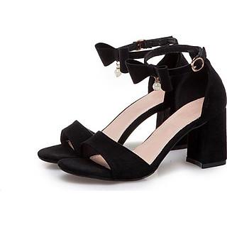 Giày cao gót nữ đẹp 7 phân hở mũi cổ nơ hạt châu cách điệu