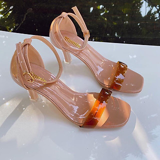 Giày cao gót nữ quai ngang, giày sandal nữ thời trang gót nhọn, hỡ mũi, gót cao 6p form chuẩn màu nâu