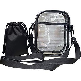Túi trong suốt đeo chéo TROY viền gân kèm túi rút nhỏ đựng phụ kiện cá nhân