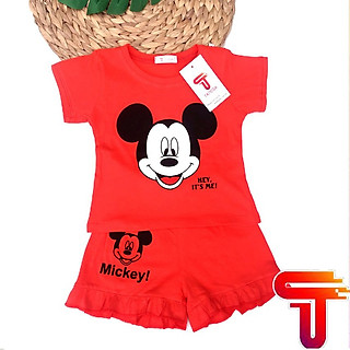 Đồ bộ bé gái tay ngắn mặc nhà MICKEY đồ bộ trẻ em mùa hè cho bé gái cộc tay thun cotton Tanosa Kids-Đồ bộ bé gái tay ngắn mặc nhà MICKEY 9-22kg 2021