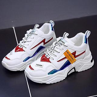 Giày Thể Thao Nữ fashion Original viền đa sắc Chất liệu da siêu đẹp, đế độn 5 phân êm chân