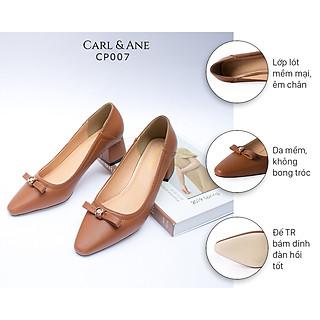 Giày cao gót Erosska thời trang nữ mũi vuông phối nơ đính đá sang trọng cao 5cm CP007