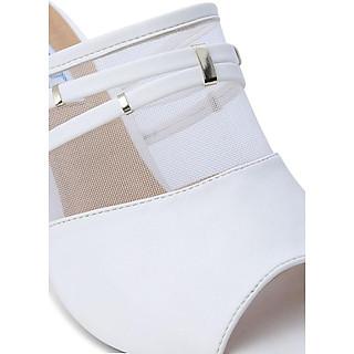 Giày Cao Gót Lưới Hở Mũi Rosata RO116 - Trắng